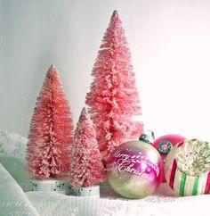 Vintage bottlebrush trees and ornaments