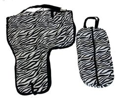 "Western Horse Saddle Carrier Zebra Print Set by AJ. $65.00. Bridle Bag size: 29"" x 14"" x 3"". Length: 40"" (from top to bottom of flap). Color: Zebra Print/Black trim. Width: 33"". Saddle Carrier Extra large western saddle carrying case. Made with 420D nylon, super thick 400g insulation and smooth black nylon liner. Durable nylon trim and adjustable 2"" carrying strap. Full length zip opening from side to side. Extra large size can easily fit 17"" show saddle...."
