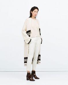 Zara white cardigan with black stripes + cap sleeve top + shiny print high-heeled booties