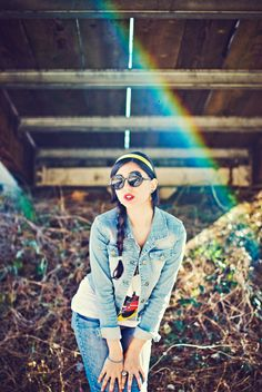 I like the glasses, not sure about that rainbow under the bridge for no reason