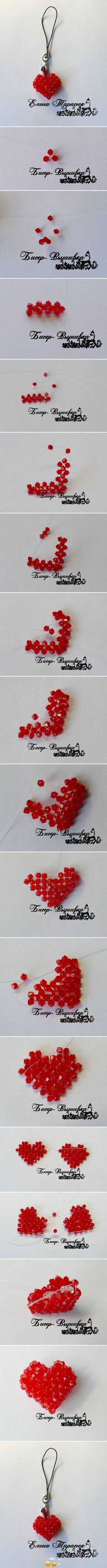 Very cute little Valentines heart, stitched out of crystal bicones.