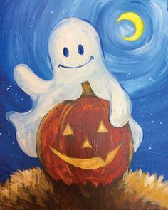 halloween painting on canvas Halloween Canvas Paintings, Fall Canvas Painting, Halloween Painting, Autumn Painting, Autumn Art, Halloween Art, Painting For Kids, Painting & Drawing, Canvas Art