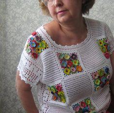 White crochet top with voluminous multi-colored flowers. Rea- White crochet top with voluminous multi-colored flowers. Ready to ship White crochet top with voluminous multi-colored flowers. Crochet Blouse, Crochet Shawl, Crochet Stitches, Knit Crochet, Crochet Patterns, Crochet Tops, Filet Crochet, Pull Crochet, Crochet Baby