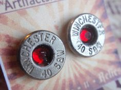 Bullet Earrings 40 caliber Featherweight w colored rhinestone Bullet Shell Surgical Steel Post Earrings Super Thin by ArtifactsNRelics on Etsy https://www.etsy.com/listing/114979270/bullet-earrings-40-caliber-featherweight
