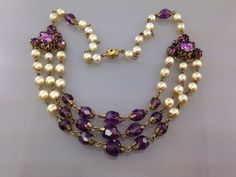 Rare Art Deco Purple Czech Glass Antique Necklace. Brilliant. Filigree Pearl and
