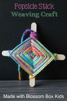 an easy weaving craft out of Popsicle sticks and colorful yarn with the supplies and directions from Blossom Box Kids.Make an easy weaving craft out of Popsicle sticks and colorful yarn with the supplies and directions from Blossom Box Kids. Yarn Crafts For Kids, Crafts For Girls, Projects For Kids, Diy For Kids, Crafts To Make, Children Crafts, Kids Fun, Simple Crafts For Kids, Summer Kids