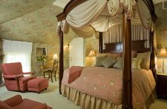 Room 12 is a guest favorite for Maine honeymoons, anniversaries and romantic escapes! It has a great custom four poster bed, fireplace and a private bath with oversized whirlpool tub for 2 and custom body jet shower. Book early if you want to stay in this room! #maine #honeymoons