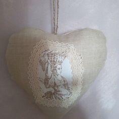 Cœur à suspendre en lin et toile de jouy