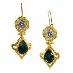 Emerald and white CZ earring