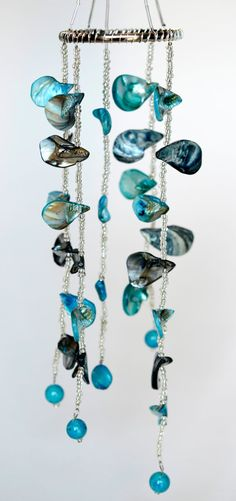 Ocean blue handmade wind chimes made with beautiful seashells and glass beads
