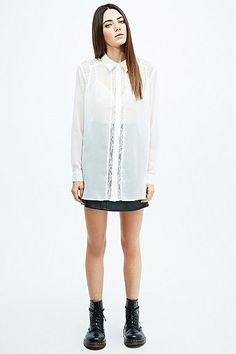 Pins & Needles Lace Insert Chiffon Shirt in Ivory - Urban Outfitters