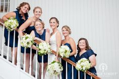A classic navy blue-hued bridal party.
