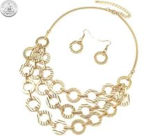 410866 NECKLACE/EARRINGS GOLD 3-ROW TEXTURED