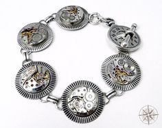 Steampunk Bracelet Watch Movement Antique by CompassRoseDesign, $118.00