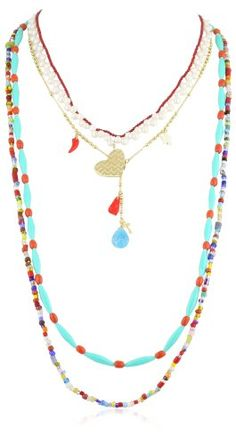 Mercedes Salazar African Beads Multi-Strand Small Heart Pendant Necklace Mercedes Salazar, NECKLACES to buy just click on amazon here http://www.amazon.com/dp/B009PJG5CE/ref=cm_sw_r_pi_dp_-T.Esb0M22DXTF5V