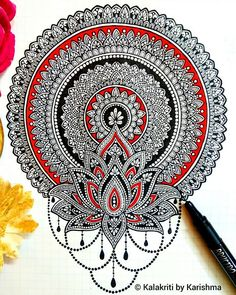 Adding another red and black mandala to the series! I'd like to know your thoughts on this one. Please swipe to see the previous one. Mandala Sketch, Mandala Doodle, Mandala Drawing, Mandala Art Lesson, Mandala Artwork, Mandala Painting, Madhubani Art, Madhubani Painting, Doodle Art Drawing