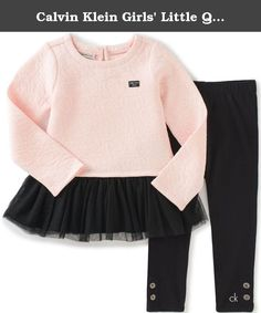 Calvin Klein Girls' Little Quilted Tunic with Leggings Set, Peach, 4. Girls 2 pieces pant set - double knit quilt with tulle skirt tunic and leggings.