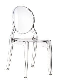 [Siesta Exclusive | Contract Collection | ELIZABETH Chair] Stacking chair for indoor and outdoor use in shiny technopolymer PA6 nylon or clear polycarbonate. Scratch resistant, self - extinguish classification V2, UV - resistant.