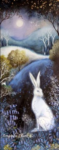 Bluebell Moon painting by Amanda Clark. Cool rolling hills and trees painting with rabbit. Art And Illustration, Fantasy Kunst, Fantasy Art, Lapin Art, Illustrator, Clark Art, Photo D Art, Rabbit Art, Bunny Art