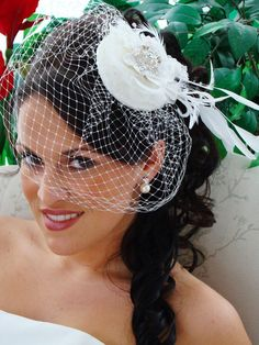 Image detail for -Bridal Hat with Wedding Birdcage Face Veil Feather Spray- want something similar, but needs to be ivory. Ideas?