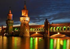 "https://flic.kr/p/djYPyZ | Oberbaumbrücke kunterbunt | Oberbaum Bridge Berlin, cheerfully illuminated during the ""festival of lights"" the bridge was built in a style which mimic the city walls"