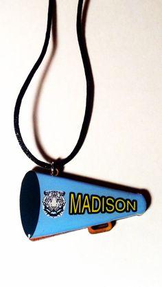 Buy Personalized Handmade Cheerleader Necklace Cheer Pendant Cheerleading Megaphone Jewelry by sherrollsdesigns. Explore more products on http://sherrollsdesigns.etsy.com