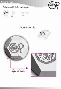 Grafica pubblcitaria_bottone abbigliamento esagonale bullone_logo laserato