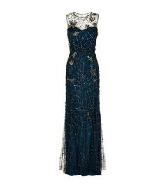 Jenny Packham Beaded Spider Web Gown Dark Blue available to buy at Harrods. Shop designer gowns and earn Rewards points.