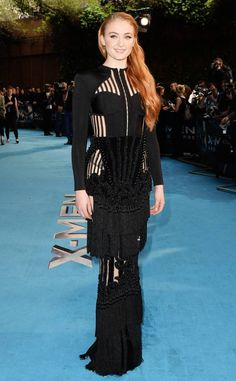 Sophie Turner from The Best of the Red Carpet  The Brit star stuns in floor-length Balmain at the X-Men Apocalypse premiere.