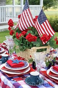 geraniums, flags, red, white, and blue....ahhh summer