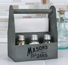 mason jar napkin and salt and pepper caddy. Available at www.shabbyshedprimitives.com