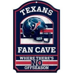 "Houston Texans NFL 11-by-17 inch ""Fan Cave, No Offseason"" Wood Sign NEW FREE SHIPPING"