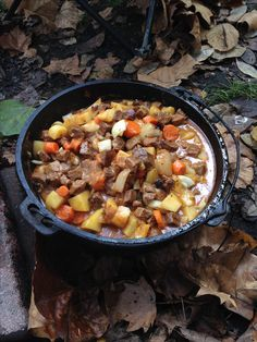 Beef Stew cooked over an open fire in our Dutch oven.