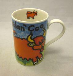 DUNOON Heelan Coo Cattle Cow Buffalo Bull Coffee Mug Cup Jane Brookshaw Scotland