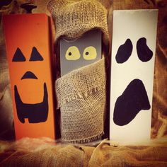 Super easy Halloween DIY - a mummy, ghost and jack-o-lantern made out of porch posts, paint a few extras.