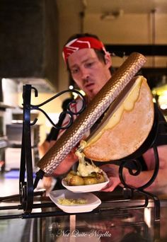 Bourke Street Bakery, Sydney: a copper and wrought iron raclette iron melting the half moon of raclette cheese. I want to do this so bad! Raclette Cheese, Raclette Party, Raclette Restaurant, Cafe Restaurant, Cheese Shop, Cheese Lover, Raclette Machine, Raclette Originale, Queso Fundido