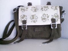 Purse Floral wreath small shoulderbag messenger by fingerfabrik, $56,00 Original, individual upcycling!  Handmade in Germany.  Original small german army bags become unique bags! The beautyful, flowered fabric is a original from the 70s.