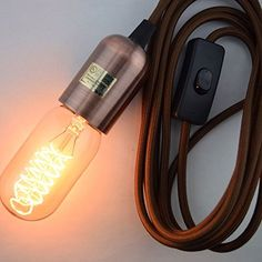 Fantado Modern Metal Copper Pendant Light Lamp Cord w/Braided Cloth Cord, Switch, 11 FT by PaperLanternStore Copper Pendant Lights, Modern Pendant Light, Pendant Lighting, Edison Lighting, Mason Jar Lighting, Antique Light Bulbs, Hanging Light Bulbs, Lamp Cord, Swag Light