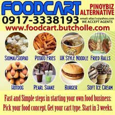Food Cart Starter Kits Food Cart Business, Siomai, Food Concept, Fried Potatoes, Starter Kit, Hot Dogs, Dog Food Recipes, Fries, Ice Cream