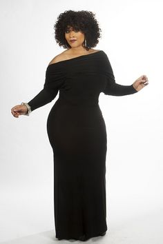 Black Long Monroe Dress https://curvaceousboutique.3dcartstores.com/Black-Long-Monroe-Dress-_p_704.html