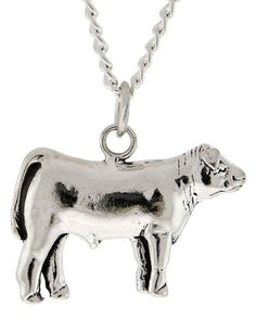Stock Show Steer Necklace in Sterling Silver - Free Chain