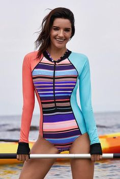 0c266343a58 Coral Blue Long Sleeve Stiped One-piece Swimsuit Coral Blue Long Sleeve  Stiped One-piece Swimsuit