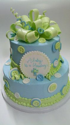 Button Baby Shower #Cake #blue #green #boy baby shower cakes, button cake, boy shower, christening cakes, baptism cakes, button babi, bow, babi shower, baby showers