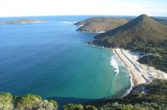 Shoal Bay, NSW.  View from the top of Tomaree Head looking south towards Fingal Bay spit.   Zenith Beach on the right, is a great surf beach popular with the locals.