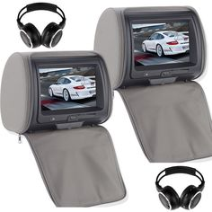 "Pair 9"" TFT TouchScreen Car Pillow Headrest Monitor DVD Player Game+Headphones"