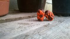 Dread bead orange flower hand made home made por THANKYOUEASYSHOP