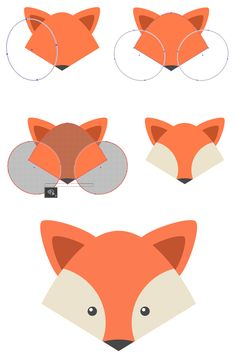 How to draw flat animal faces in Illustrator.How to draw flat animal faces in Illustrator.How to draw flat animal faces in Illustrator. Graphisches Design, Graphic Design Tutorials, Graphic Design Inspiration, Graphic Design Quotes, Icon Design, Design Elements, Pattern Design, Design Ideas, Adobe Illustrator Tutorials