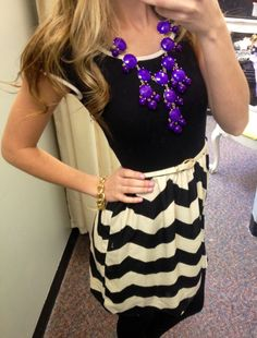 Cap sleeve chevron dress, purple bubble necklace with leggings. Great outfit to transition into spring. Www.sexymodest.com