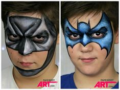 When you think about face painting designs, you probably think about simple kids face painting designs. Many people do not realize that face painting designs go Batman Face Paint, Superhero Face Painting, Face Painting For Boys, Face Painting Designs, Paint Designs, Body Painting, Snake Face Paint, Mime Face Paint, Minnie Mouse Face Painting