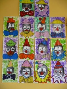 Kunst Grundschule - portraits de clowns chez Béatrix: tribune libre - école petite section Clown Crafts, Circus Crafts, Carnival Crafts, Circus Art, Circus Theme, Theme Carnaval, Christmas Paper Crafts, Christmas Crafts, School Portraits